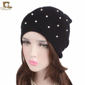 Hot 2017 New Fashion Winter Hat Women Knitted Hat pearled beaded knit beanie women ski cap Thick Warm Bonnet Beanie Hat