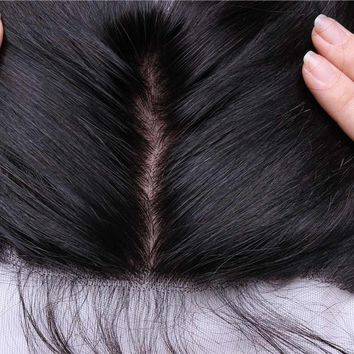 Silk Base 13X4 Lace Frontal Closure Straight Pre Pluck Lace Frontal With Baby Hair Brazilian Remy Hair