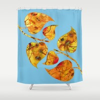 blue automn Shower Curtain by clemm