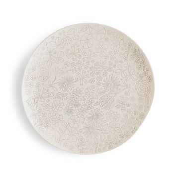 Dorotea 5215281 Hand Painted Dinner Plate, 10.75-Inch, Set of 4, White/Gray