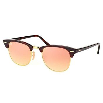 Kalete Authentic Ray Ban Clubmaster RB 3016 990/7O Red Havana Sunglasses 51mm Lens