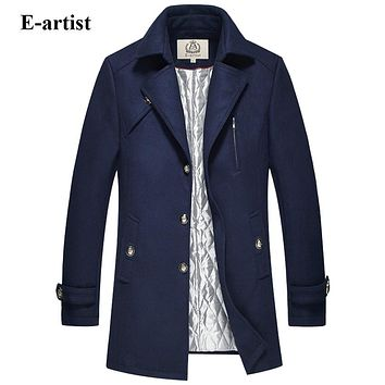 Men's Single Breasted Wool Long Trench Coat Male Winter Pea coats Jackets Warm Outerwear Overcoats
