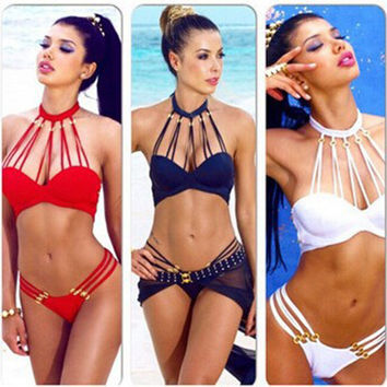 New Summer Style Bikini Set Swimwear Women Halter Bandage Push Up Swimsuit More Rope Cut Out High Neck Bathing Swim Suits