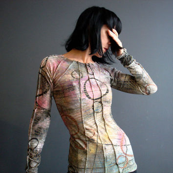 Womens Handmade Shirt, Hand Printed Long Sleeve Jersey Top, Graffiti Print Colorful Fitted Shirt, Futuristic Spaceage Wearable Art Top