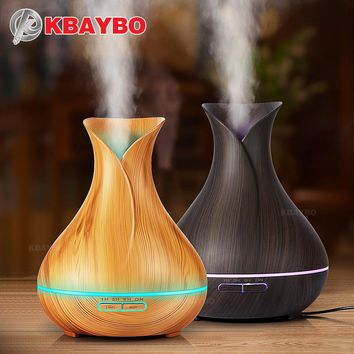 Aroma Essential Oil Diffuser Ultrasonic Air Humidifier with Wood Grain 7 Color Changing
