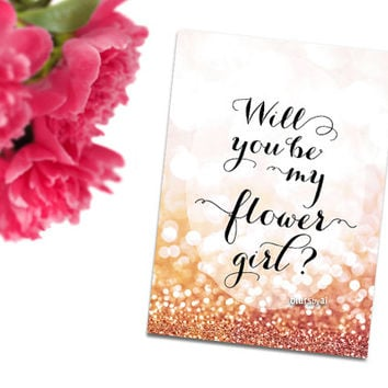 Will you be my flower girl printable card, pink and gold glitter, gold bokeh background, cursive calligraphy, pdf download -C015- Olivia