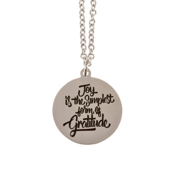 Stainless Steel Charm Necklace Joy is the Simplest Form of Gratitude