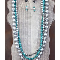 West and Co. Women's 3 Strand Silver and Turquoise Bead Necklace Set