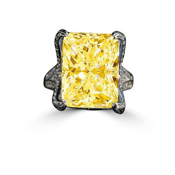 15 CT. Intensely Radiant Emerald/Rectangular Diamond Veneer Center Held by Double Pave Eagle Claw Prongs Ring. 635R71648canary