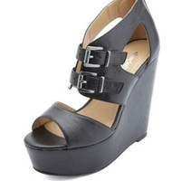 Cut-Out Belted Peep Toe Platform Wedges by Charlotte Russe