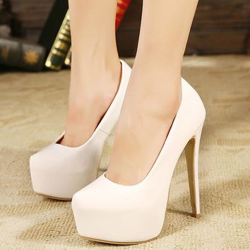 Platform Round Toe Low Cut Super High Stiletto Heels Party Shoes