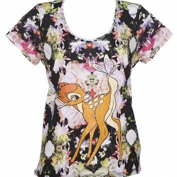 Ladies Floral Bambi Disney T-Shirt From Eleven Paris : TruffleShuffle.com