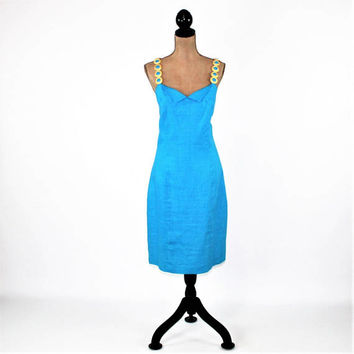 90s Linen Dress Large Sleeveless Summer Cocktail Dress Turquoise Fitted Midi Gold Chain Strap Size 14 Dress Vintage Clothing Womens Clothing