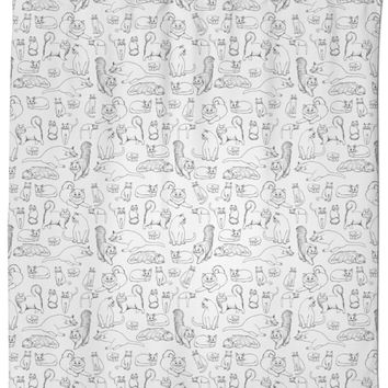 Sketches of Cats Shower Curtain