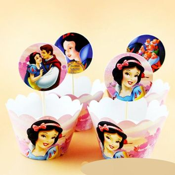 24pcs Snow White Seven Dwarfs Cupcake Wrapper and Topper picks Cartoon kids Birthday party Wedding Decoration Supplies cake cups