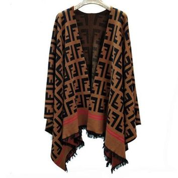 Fendi Women Knitwear Cardigan Irregular Cardigan Jacket Coat