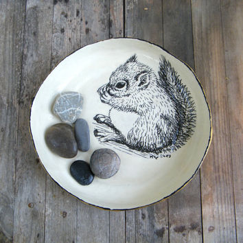 Squirrel table centerpiece, Fruit bowl, Paper mache bowl, Black and white print, Storage basket, Thanksgiving gift