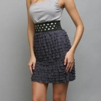 Stud Waist One Shoulder Dress - FREE GIFT WITH PURCHASE