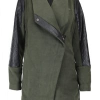 Quilted Leather Trim Soft Felt Draped Coat - Olive/Black