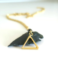 Sale Gold Triangle Necklace with Black Onyx / Gold Layering Necklace / Gold Necklace