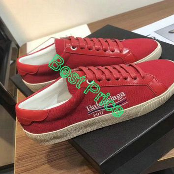 Sneaker paint Balenciaga Low Skate Sneakers Rubber Sole Saint Laurent Slp 2018 Spring Summer Red Authentic shoe