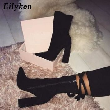 Eilyken 2018 New Flock Ankle Boots Women For Autumn Winter Fashion Pointed Toe heel Zipper Woman Chelsea Boots Plus size 35-42
