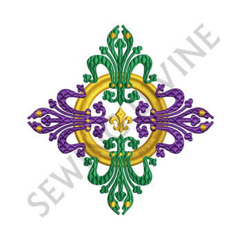 FLEUR de lis EMBROIDERY Design MARDI Gras 4x4 5x7 6x10 Inch Digital Download