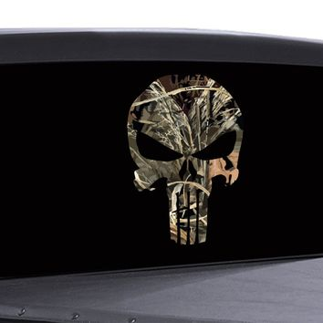 Punisher Skull Window Decal Vinyl Graphic Camouflage Real Tree Woodland Hunting
