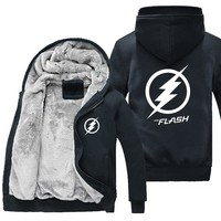 New Winter Jackets and Coats The Flash hoodie Anime Justice League Hooded Thick Zipper Men cardigan Sweatshirts USA Size