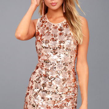 Cheers Rose Gold Sequin Sleeveless Bodycon Dress