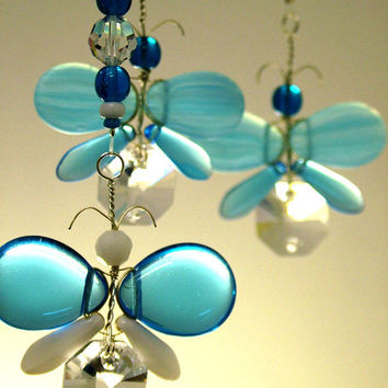 Childrens Hanging Mobile Butterfly Hanging Decor Blue Butterfly Mobile Crystal Suncatcher Glass Mobile Wedding Decor Garland KIds Mobile