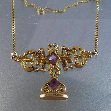 Victorian Amethyst Fob Necklace, Antique Gold Filled Ornate Etruscan