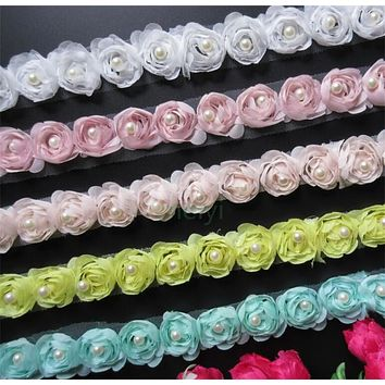 Soluble Chiffon Rose Flower Pearl Embroidered Fabric Lace Trim Ribbon Handmade DIY Sewing Supplies Craft For Costume Decoration