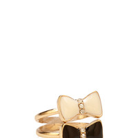 FOREVER 21 Rhinestoned Bow Ring Set Gold/Black 7