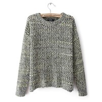 Long Sleeve Hollow Knit Sweater