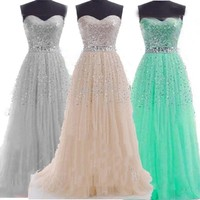 New fashion sweet long party dress strapless  formal  dress vestidos  prom Special Occasion Dresses