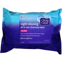 Clean & Clear Night Relaxing All-In-One Cleansing Wipes, 25 count - Walmart.com