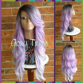 ON SALE // Long Curly/Wavy Lace Front Wig, Ombre Lavender Mermaid Wig, Dark Rooted Bombshell Wig //GRACIOUS (Free Shipping)