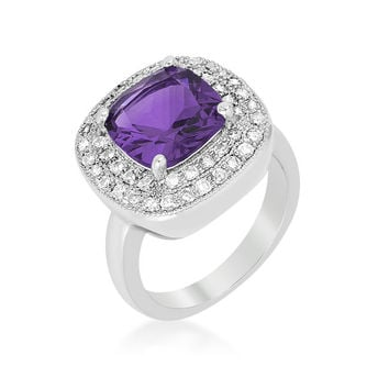 Blair Amethyst Purple Cushion Cut Cocktail Ring | 5ct | Cubic Zirconia | Silver