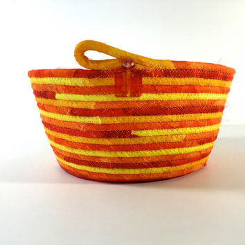 Coiled Rope Basket in Bright Orange - Halloween Candy Bowl Autumn Fall Decor - Citrus Organizer - Handmade Homemade Fiber Art by Sally Manke