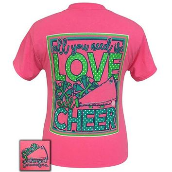 Girlie Girl Preppy All you need is love and cheer Cheerleading Pink T-Shirt