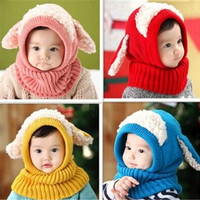Baby Hat Cape Solid Color Dog Knitted Hat Scarf &Cap Sets Hooded Cape Children Cloak Hats