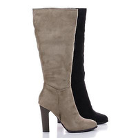 Rikard Black By Delicious, Knee High Zip Up Block Heel Boots