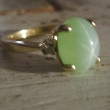Estate Vintage Rare Green Star Sapphire Diamond Ring 14k Gold Natural Cabochon 6 Rays Star Sapphire Promise Ring