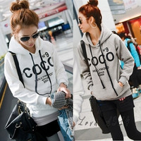 New Women Sweatshirt Autumn Winter hoodies Women's Casual Cotton Words Outerwear Tracksuit Gray White One size 3245 = 1930138500