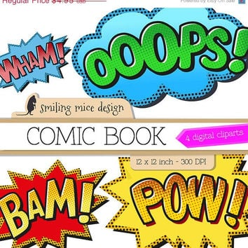 80% OFF SALE COMIC Book digital clipart / digital clipart pack with Wham, Ooops, Bam, Pow  Sounds Sayings