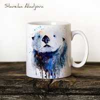 Sea Otter Mug Watercolor Ceramic Mug Unique Gift Coffee Mug Animal Mug Tea Cup Art Illustration Cool Kitchen Art Printed mug