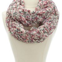 Floral Printed Infinity Scarf by Charlotte Russe - Pink Combo