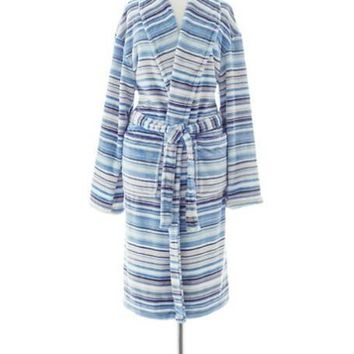 Selke Fleece Hooded Robe | Lagoon Stripe