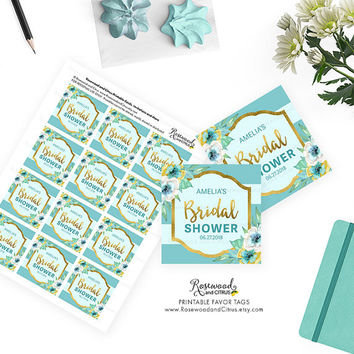 Printable Bridal Shower Favor Tags, Mint Bridal Shower Tags, Floral Bridal Shower, Printable Shower Favor Tags, Printable Favor Tags